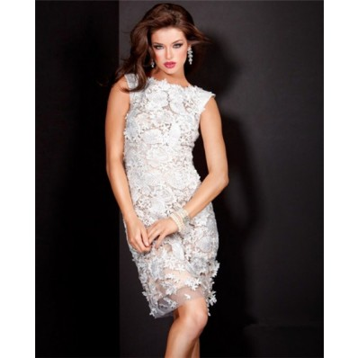 Sexy Short Nude Satin White Lace Wedding Party Guest