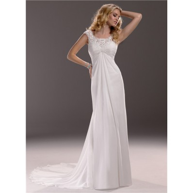 Sheath Cap Sleeve Empire Waist Lace Chiffon Maternity Wedding Dress