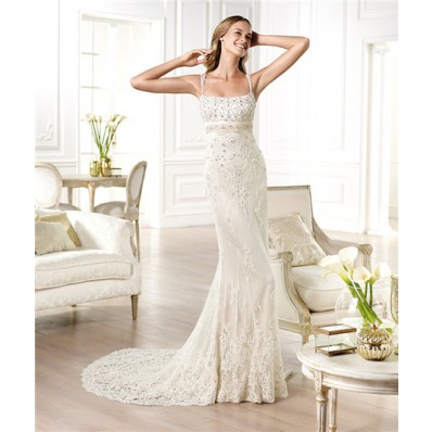 Sheath Column Square Neck Open Back Beaded Lace Wedding Dress With Straps Belt
