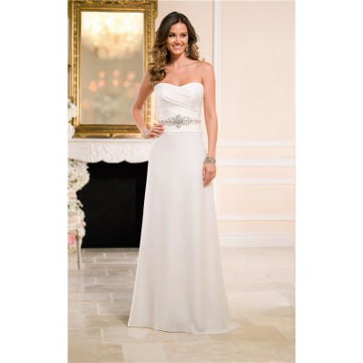Sheath Column Strapless Sweetheart Silk Satin Crystal Wedding Dress With Buttons