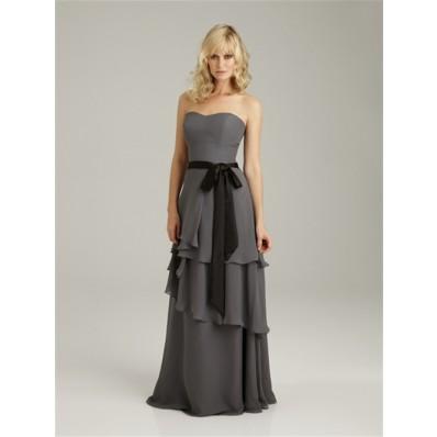 Sheath/Column sweetheart long grey chiffon bridesmaid dress with sash and ruffles