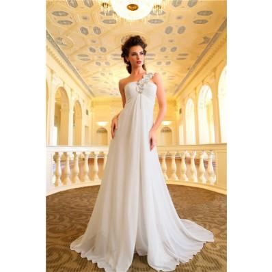 Sheath One Shoulder Chiffon Garden Maternity Wedding Dress Empire Waist