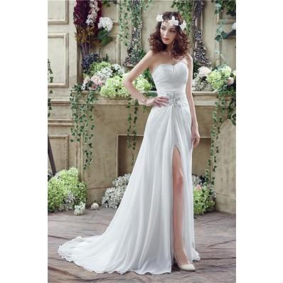 Sheath Strapless High Slit Corset Back Chiffon Beach Wedding Dress