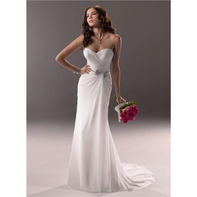 Sheath Sweetheart Destination Beach Chiffon Wedding Dress With Crystal