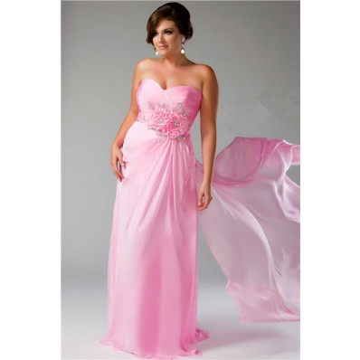 Sheath Sweetheart Long Pink Chiffon Plus Size Party Prom Dress With
