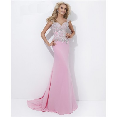 Sheath Sweetheart Neckline Open Back Long Pink Chiffon Beaded Prom Dress With Straps