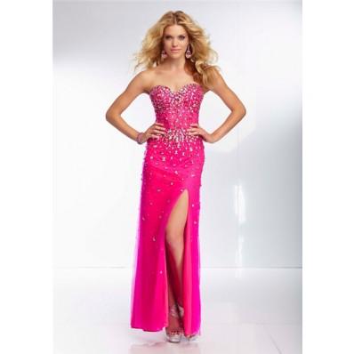 sheath sweetheart sheer see through corset long hot pink