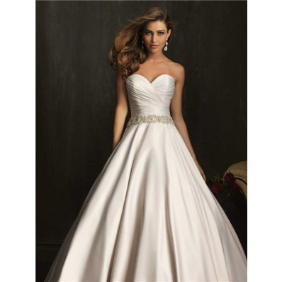 Simple Exquisite Ball Gown Strapless Ruched Beaded Satin Wedding Dress