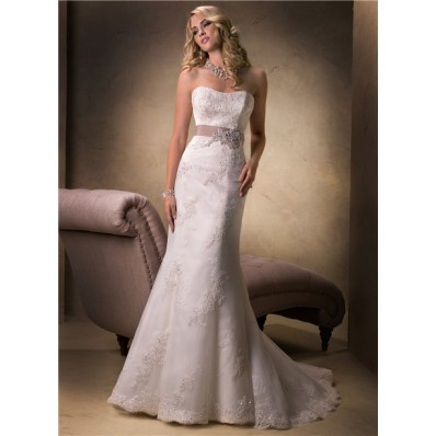 simple mermaid strapless lace beaded wedding dress with