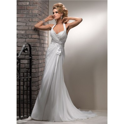 Slim A Line Halter Corset Back Chiffon Beach Wedding Dress With Lace Pearls