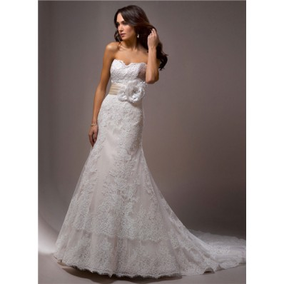 Slim A Line Strapless Vintage Lace Wedding Dress With Flower Sash