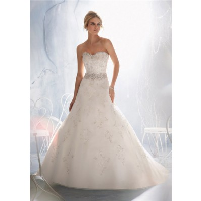Slim A Line Sweetheart Lace Beaded Crystal Pearls Wedding Dress With Buttons