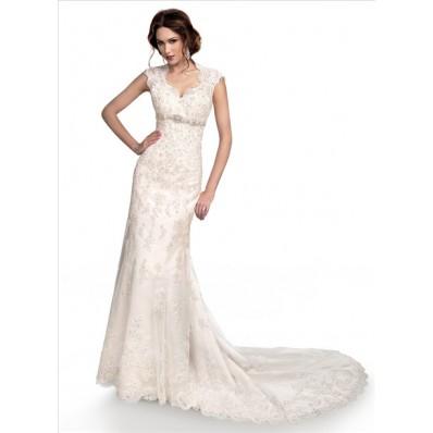 Slim mermaid cap sleeve empire waist lace wedding dress for Cap sleeve open back wedding dress