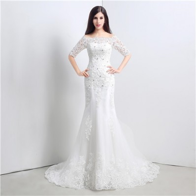 Slim Mermaid Off The Shoulder Short Sleeve Lace Wedding Dress Corset Back