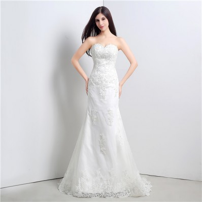Slim Mermaid Strapless Corset Wedding Dress With Lace Appliques
