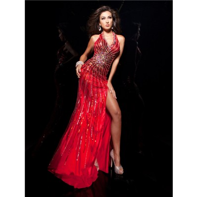 Unique Sexy Halter Backless Long Red Silk Beading Sequins