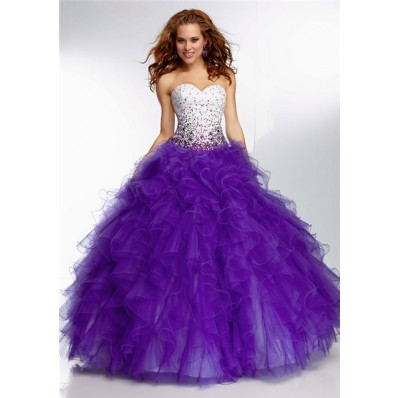 Unusual Ball Gown Sweetheart Long White Satin Purple Organza Ruffle Prom Dress
