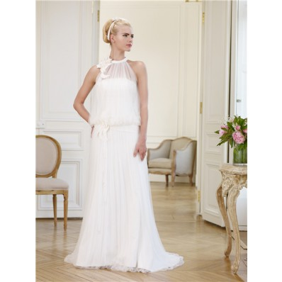 Unusual High Neck Ruched Tulle Casual Wedding Dress With Flowers