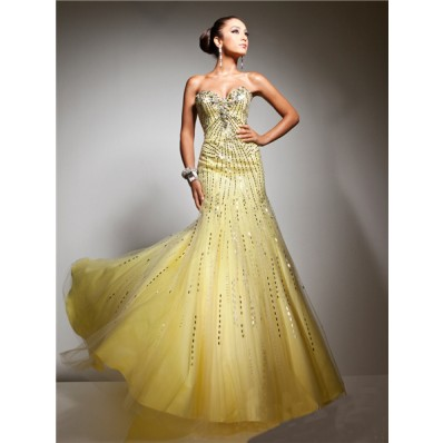 Unusual Mermaid Sweetheart Long Yellow Tulle Sequins Sparkly Evening Prom Dress