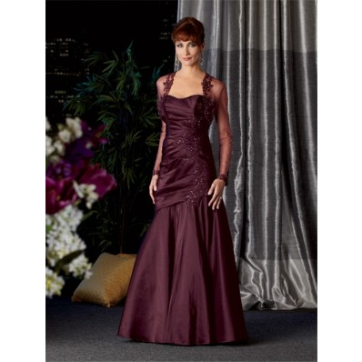 787a42285f1 Vintage long Burgundy taffeta mother of the bride dress with jacket