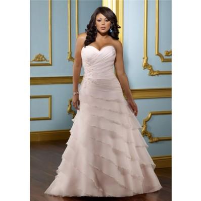 A Line Sweetheart Layered Blush Pink Organza Ruffle Plus Size Wedding Dress Corset Back
