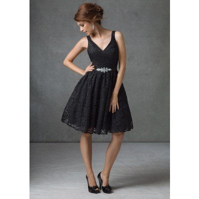 A line v neck short black lace beaded sash bridesmaid dress