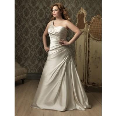 A line Princess one shoulder ivory satin ruched plus size designer wedding dress with train