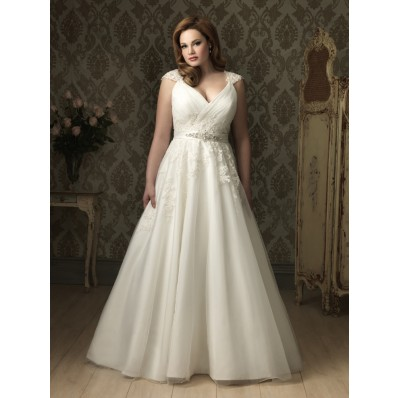 A line Princess v neck cap sleeve tulle lace plus size designer wedding dress with applique