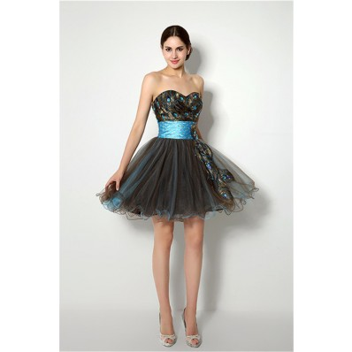 Ball Strapless Short Brown And Blue Tulle Peacock Applique Prom Dress