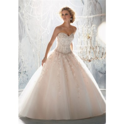 Dream Ball Gown Sweetheart Tulle Lace Beaded Wedding Dress With Buttons