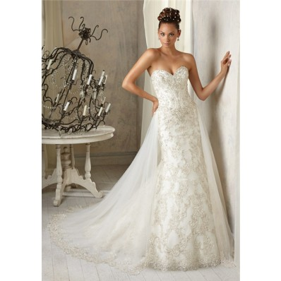 Gorgeous Vintage Mermaid Sweetheart Tulle Lace Beaded Wedding Dress With Detachable Train