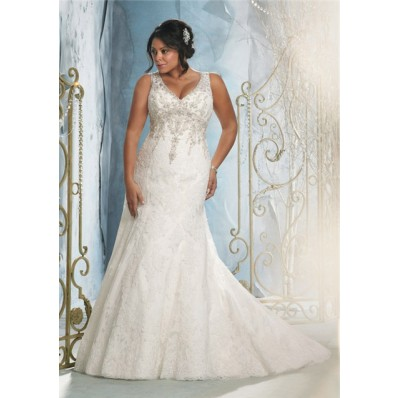 Sexy mermaid v neck lace beaded plus size wedding dress for Free plus size wedding dress catalogs