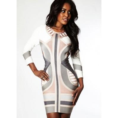 Short/mini white striped bandage bodycon dress with long sleeve