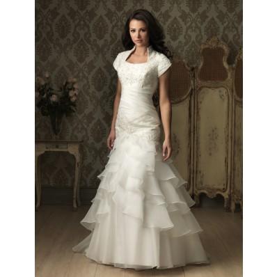 Trumpet  Mermaid cap sleeve organza ruffles wedding dress with collar