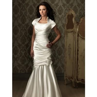 Trumpet Mermaid cap sleeve silk satin ruched modest wedding dress with collar