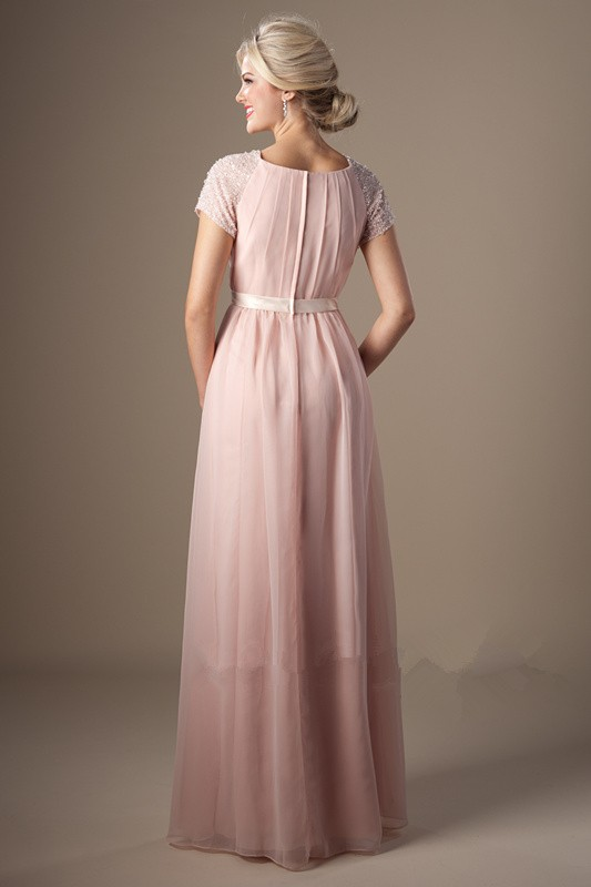 Modest High Neck Long Blush Pink Chiffon Sleeve Beaded