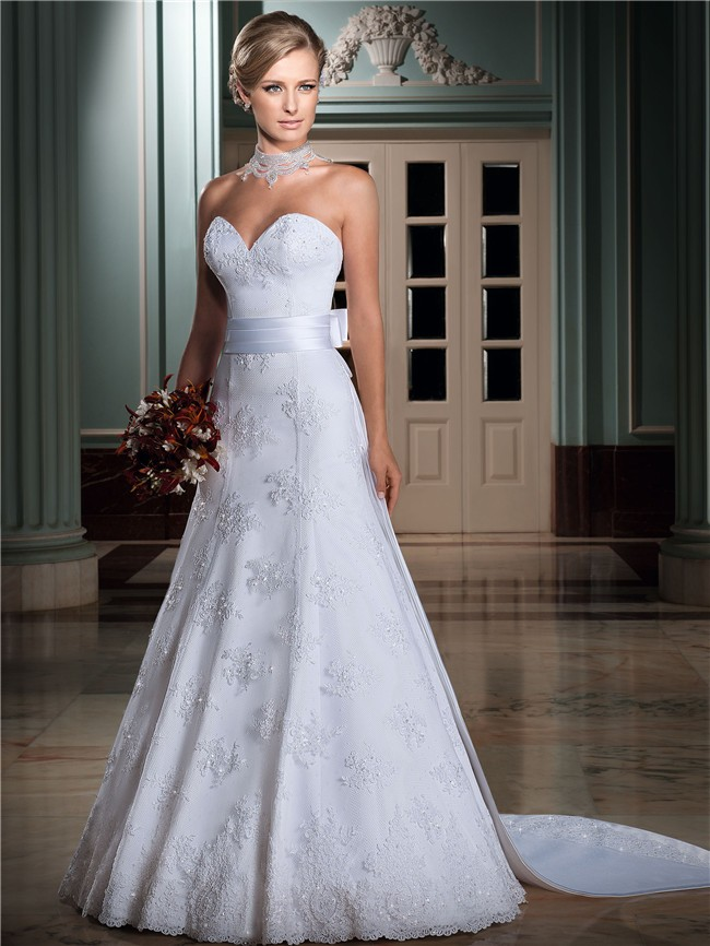 A line 3 4 sleeve lace jacket wedding dress with bow A line wedding dress with detachable train
