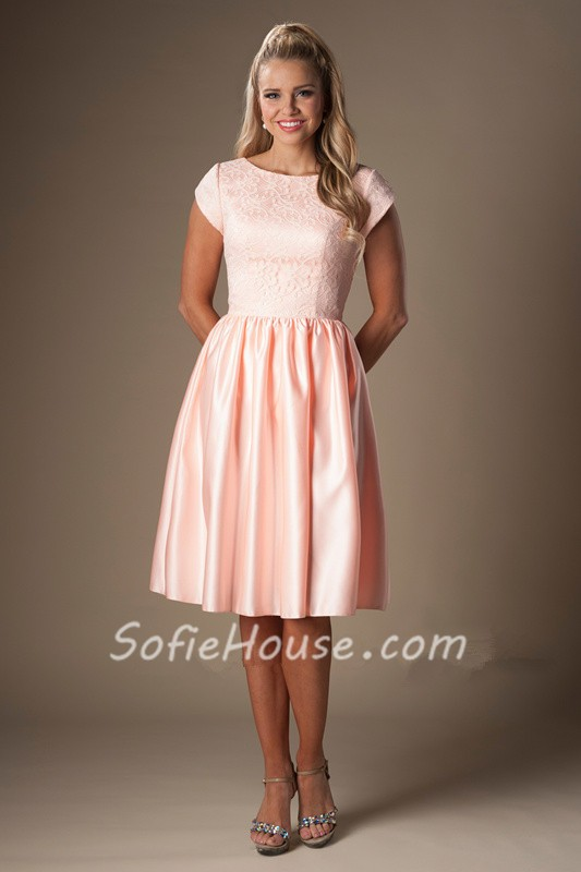 A Line Bateau Neck Cap Sleeves Pearl Pink Satin Lace Short Bridesmaid Dress