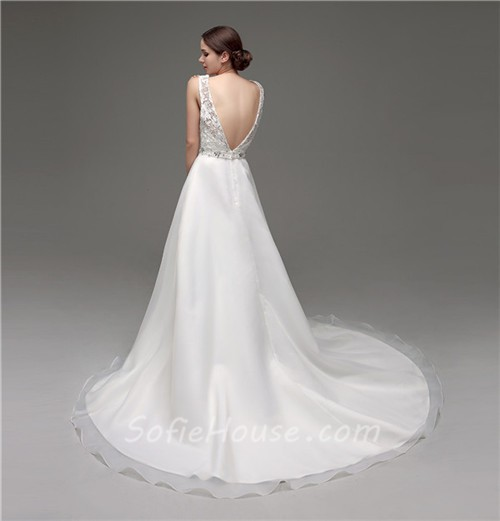 A Line Bateau Neck Low Back Organza Lace Wedding Dress