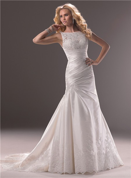 Wedding dressesdesigner wedding dresses a line bateau neck taffeta lace wedding dress with low back junglespirit Image collections