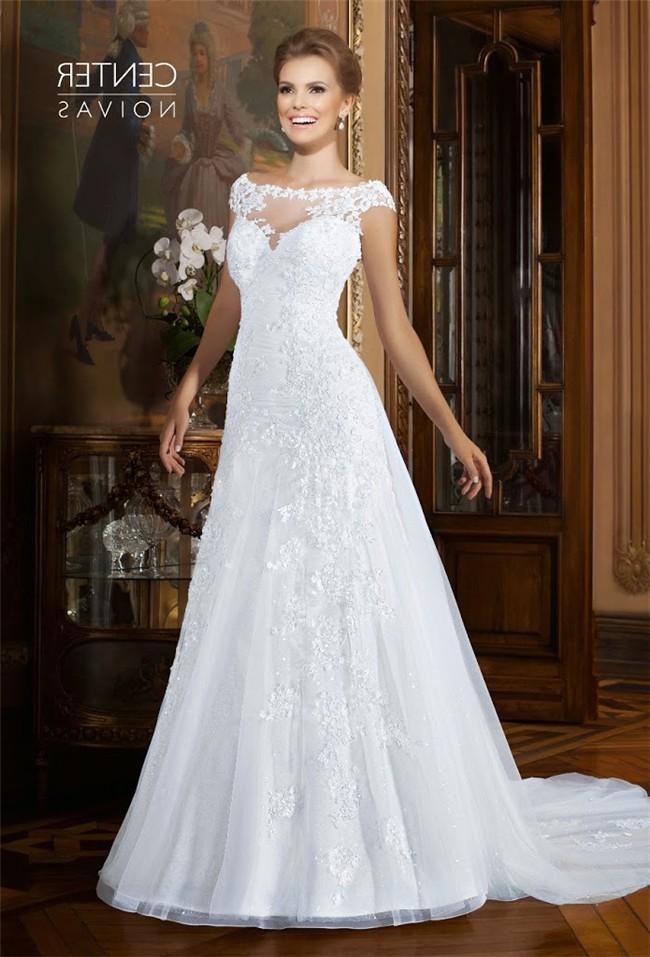 cb8bd43a090 A Line Bateau Neckline Cap Sleeve Organza Lace Beaded Wedding Dress Sheer  Back