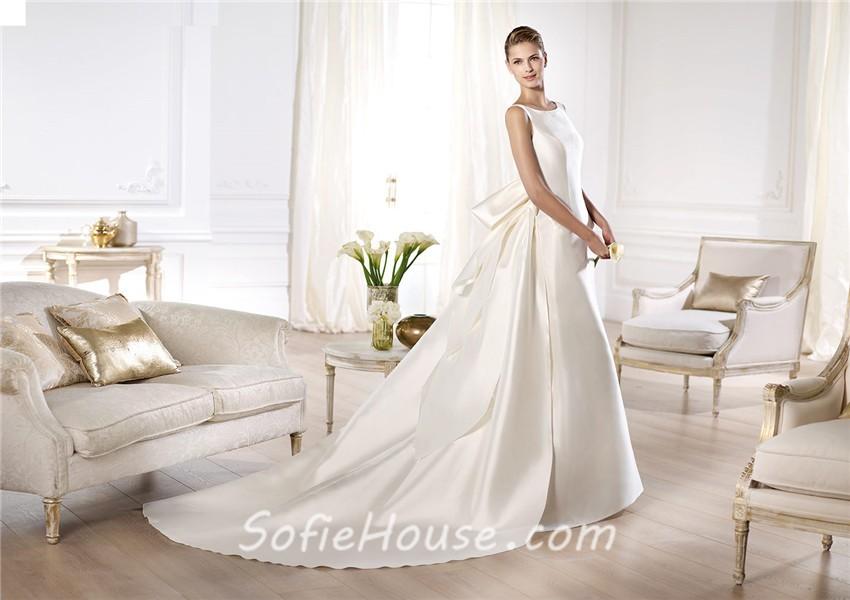 A line bateau neckline low v back satin wedding dress with for Satin low back wedding dress