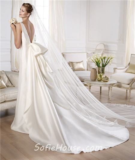 Bridal Dress With Detachable Train: A Line Bateau Neckline Low V Back Satin Wedding Dress With