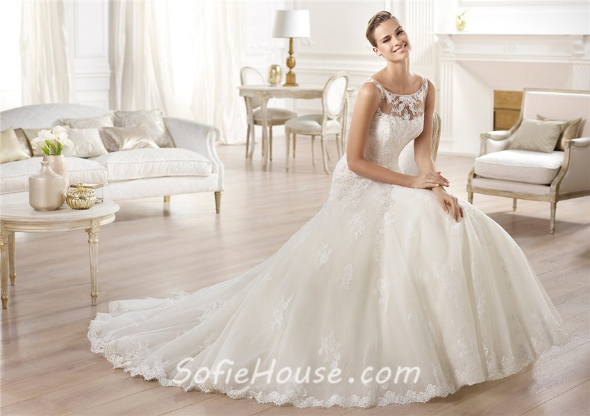 A Line Bateau Neckline See Through Back Tulle Lace Wedding