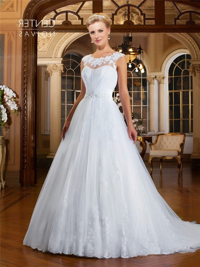 A Line Bateau Neckline Sheer Back Tulle Lace Beaded