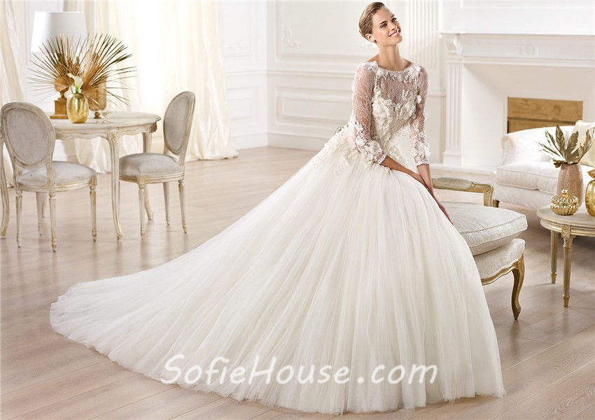 A Line Bateau Neckline Three Quarter Sleeve Lace Tulle Wedding Dress ...