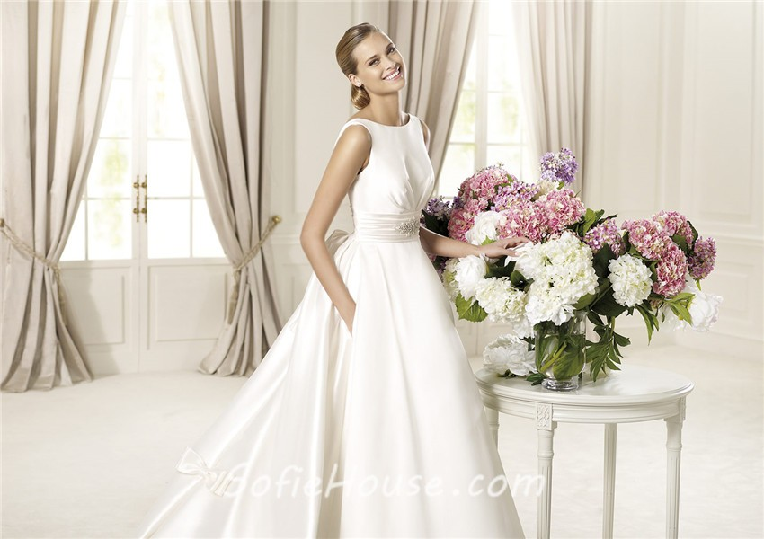 A Line Wedding Dress: A Line Bateau Neckline V Back Satin Wedding Dress With