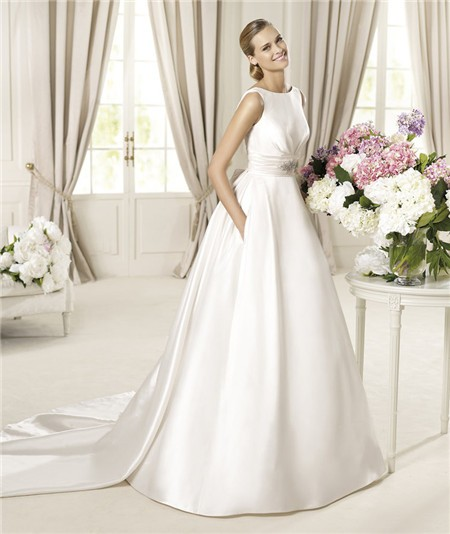 A line bateau neckline v back satin wedding dress with for Satin a line wedding dress