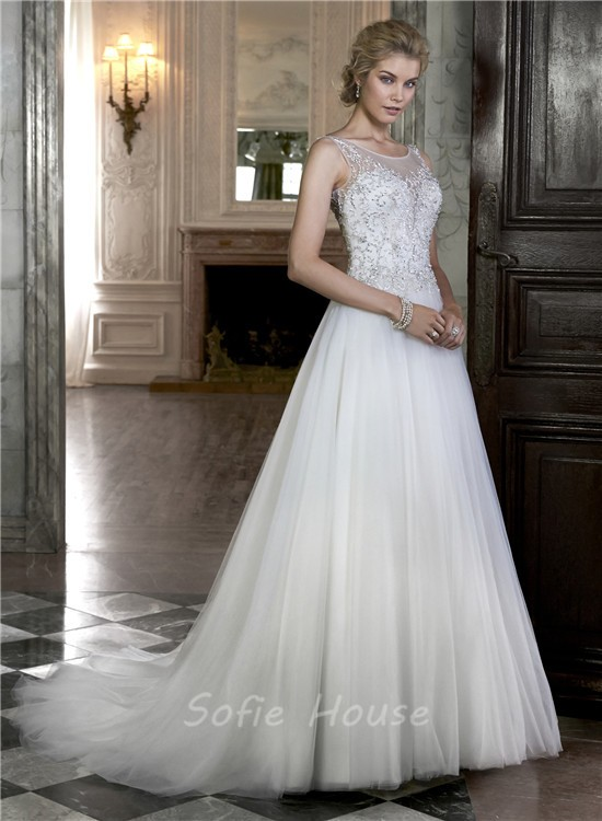 47749ac9880 A Line Boat Illusion Neckline Sheer Back Sleeveless Tulle Beaded Wedding  Dress