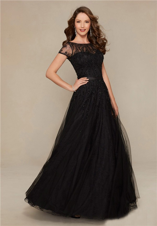 A Line Boat Neck Long Black Tulle Beaded Evening Prom